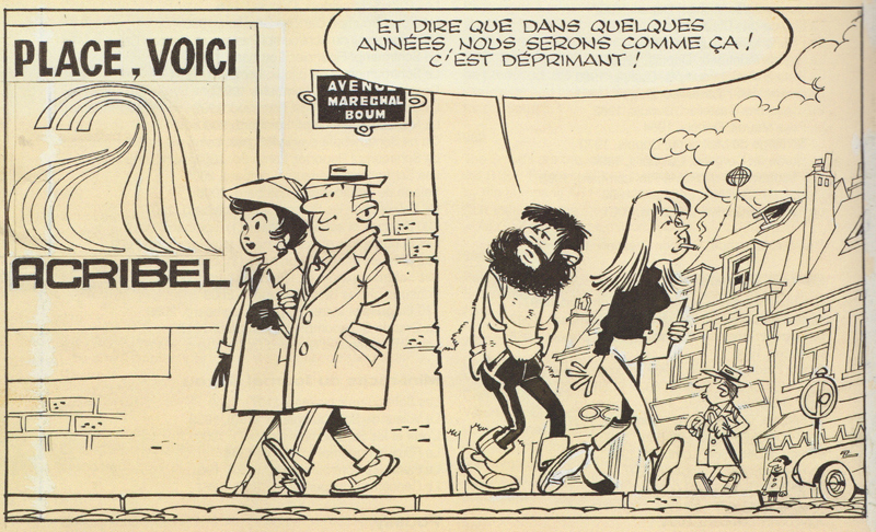 Peyo's caricature of bearded Yvan Delporte in an ad, 1964 (© Peyo).