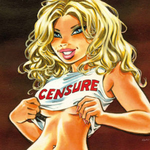 "Illustration of a blond woman lifting her shirt that has ""censure"" written on it"
