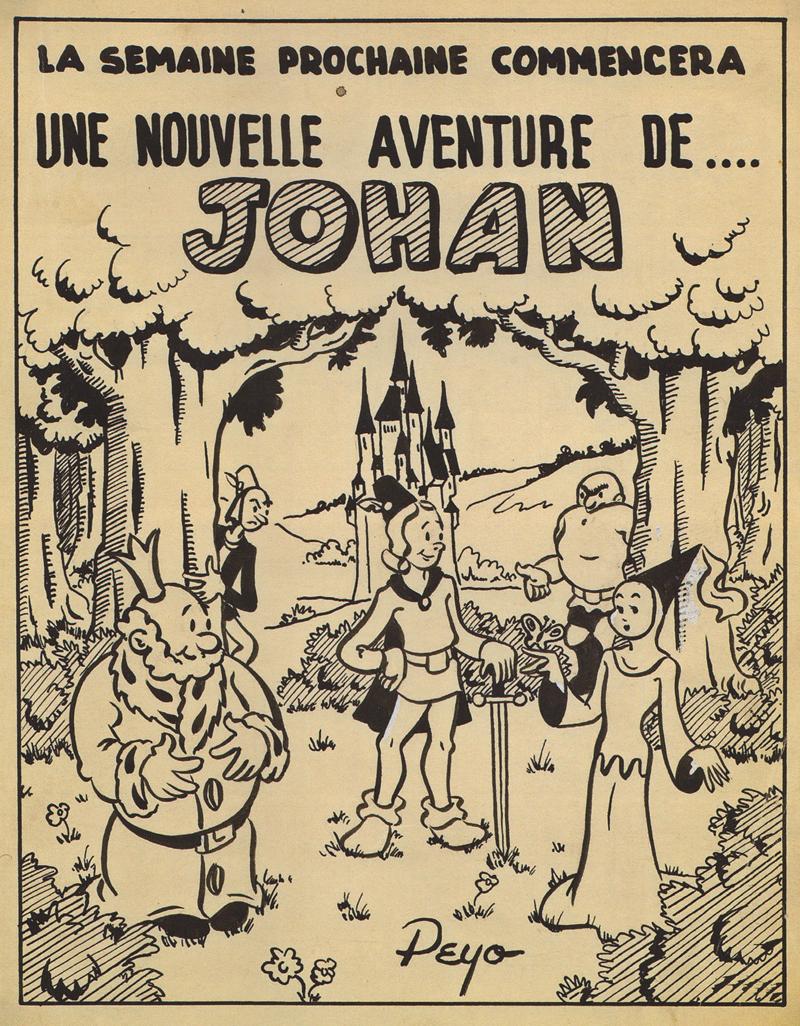 Peyo's early version of his medieval page Johan, 1947 (© Peyo).