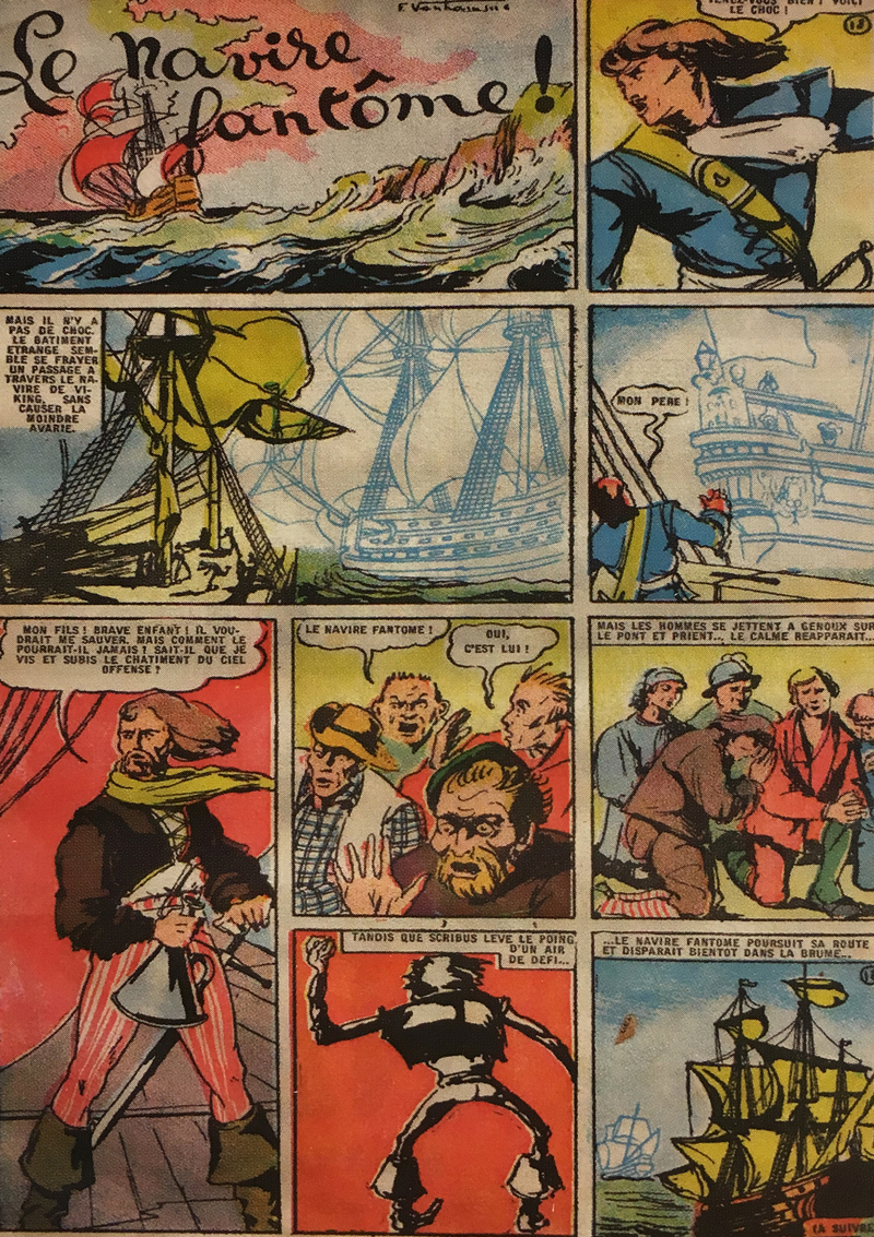 "A page of 1941's ""The Phantom Vessel"" from Spirou magazine; one of the sword-and-sorcery comics read by young Peyo (courtesy Bibliothèque Forney Paris)."