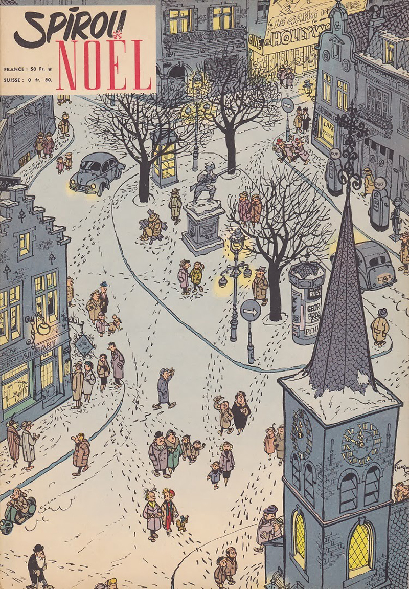 """A Christmas issue of the 1950s """"Spirou"""" that Peyo joined (© Dupuis)."""