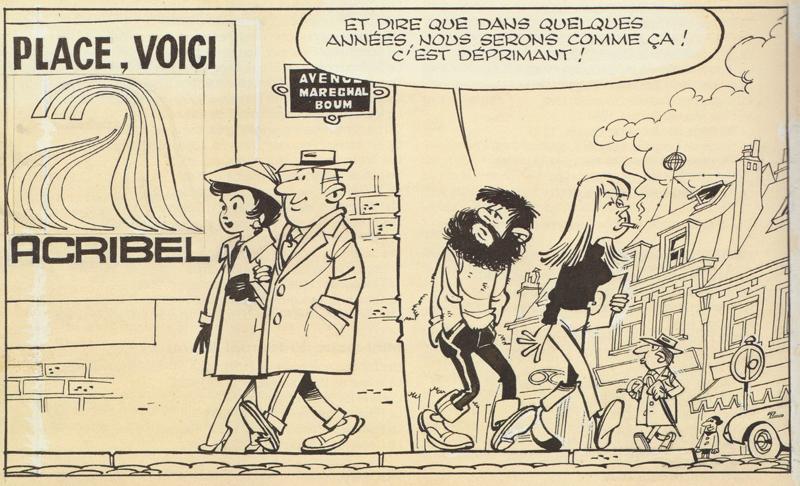 Peyo's caricature of bearded Yvan Delporte in an ad, 1964 (© Peyo).