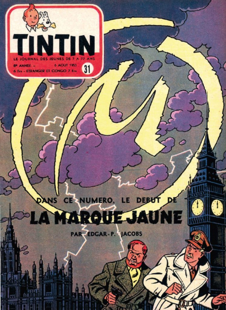Tintin magazine cover with Blake and Mortimer, big ben