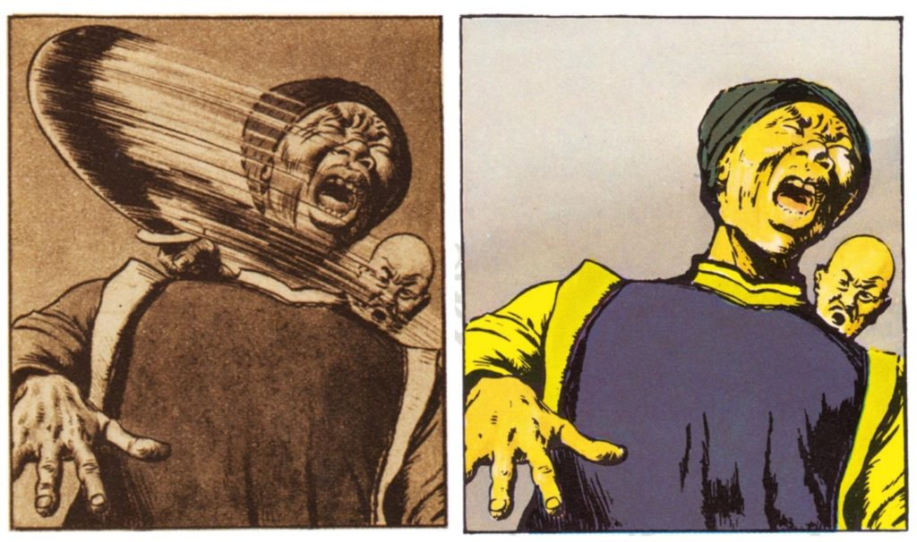 Two images in a comic strip in which a character from Tintin series is beheaded and in the other one it looks like he's being stabbed from the back instead