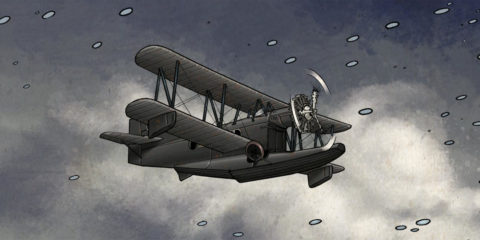 Airplane Plane flying in a snowy sky, from Black Angel comic book